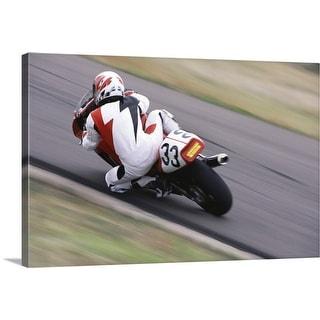 """Person motorcycle racing"" Canvas Wall Art"