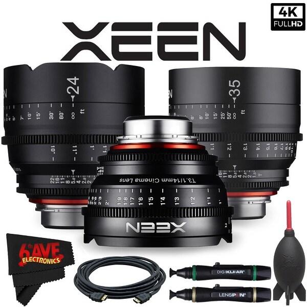 Rokinon Xeen 14mm T3.1 Lens for Canon EF Mount + Rokinon Xeen 24mm T1.5 Lens + Rokinon Xeen 35mm T1.5 Lens Bundle