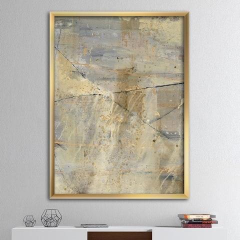 Designart 'Geometric Cream Block I' Modern Glam Premium Framed Art Print