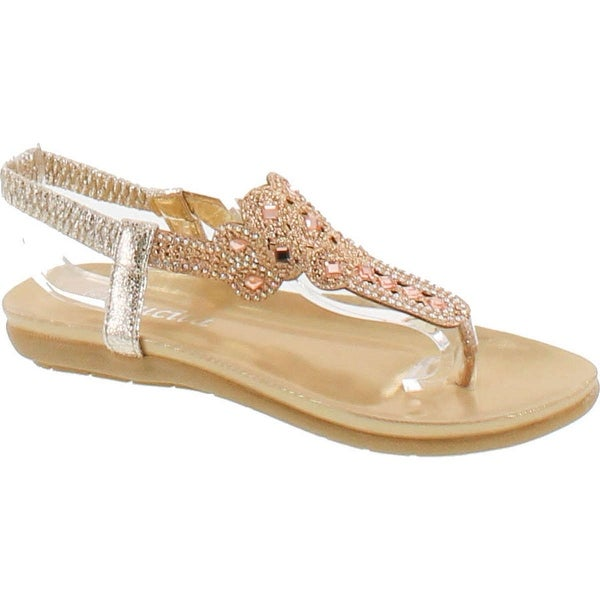 Lucita 3-25 Women Glitter Sparkle Rhinestone Cut Out T-Strap Cushioned Slingback Thong Sandals - Gold
