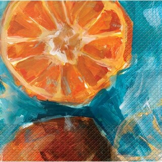 """Club Pack of 288 Fruit Expressions Oranges Premium 3-Ply Disposable Party Beverage Napkins 5"""""""