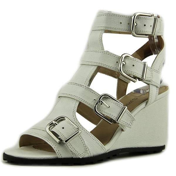 Via Spiga Luxie Women Open Toe Leather White Wedge Sandal