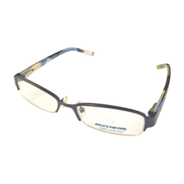 Skechers Ophthalmic Womens Eyeglass Frame Metal Rimless Rectangle SK2026 Sea Blue - multi blue - Med