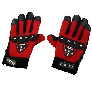 Outdoor Full Finger Non-slip Hard Racing Riding Gloves Red Pair