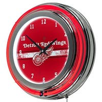 Trademark Global  NHL Chrome Double Rung Neon Clock - Detroit Redwings