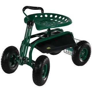 Sunnydaze Rolling Garden Cart w/ Extendable Steering Handle Swivel Seat & Basket