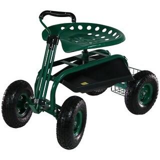 Sunnydaze Rolling Garden Cart with Extendable Steering Handle, Swivel Seat & Basket