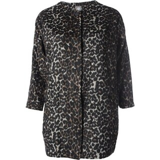 Vince Camuto Womens Plus Wool Animal Print Coat - 2X