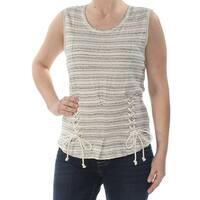 WILLIAM RAST Womens Ivory Tie Striped Sleeveless Jewel Neck Top  Size: S