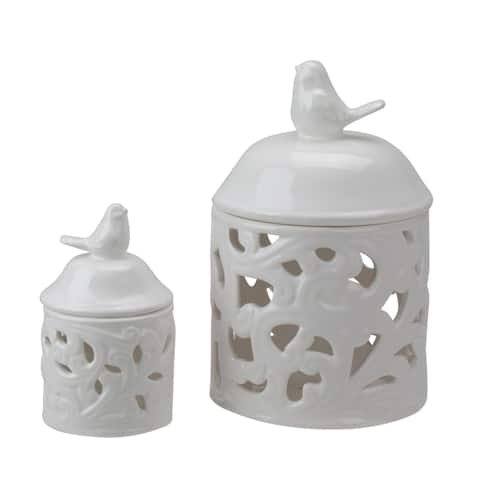 "8"" Set Of 2 White Ceramic Bird Candle Lanterns - N/A"