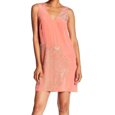 Trina Turk Pink Womens Size 8 V-Neck Embellished Silk Shift Dress
