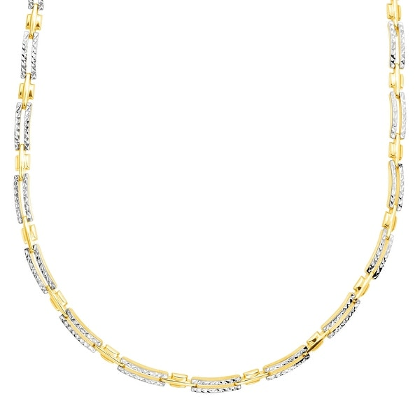 Just Gold Rectangular Textured Link Necklace in 10K Gold - Yellow
