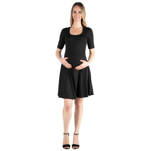 24seven Comfort Appare Elbow Sleeve Maternity Knee Length Dress