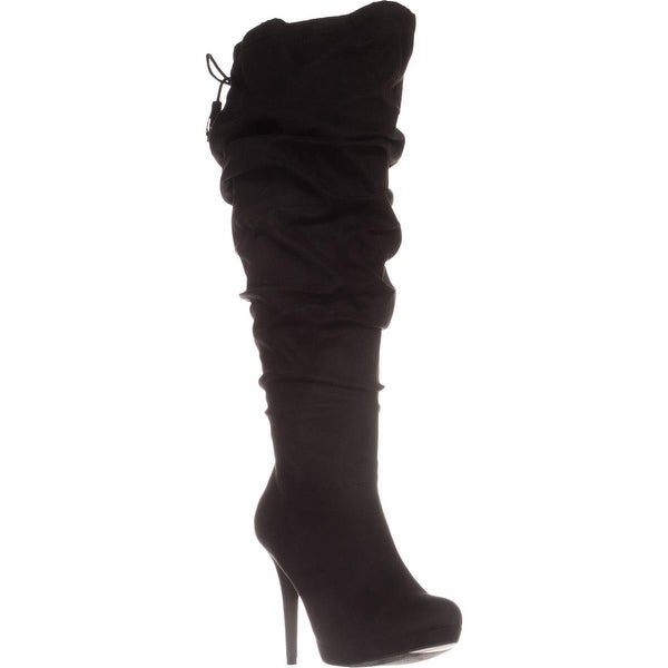 TS35 Brisa Wide Calf Platform Knee-High Boots, Black