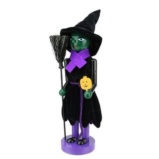 "14"" Green Witch Decorative Wooden Halloween Nutcracker Holding Broom and Jack-O-Lantern"