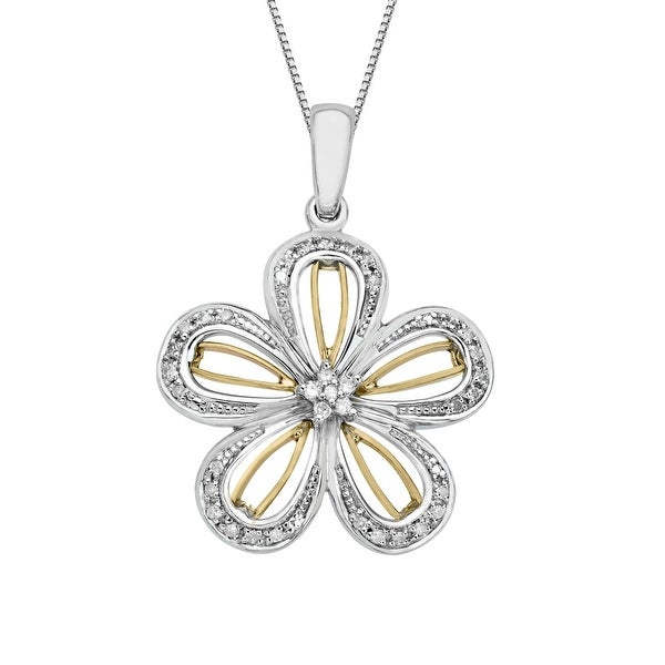 1/8 ct Diamond Flower Pendant in Sterling Silver & 14K Rose Gold