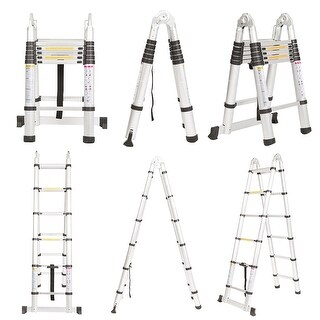 Aluminum Folding Telescoping A-Frame Ladder with Hinges