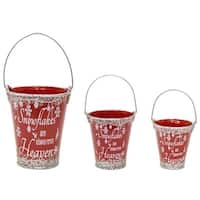 Pack of 4 Decorative Red and White Snowflakes Pail