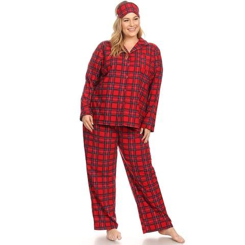 White Mark Women's Plus Size 3-piece Pajama Set