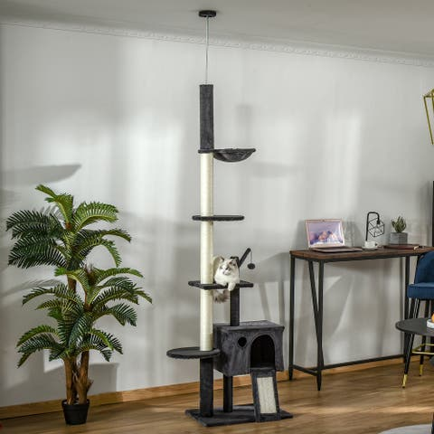 PawHut Huge Cat Tree Kitty Activity Center Floor-to-Ceiling Cat Climbing Toy with Scratching Post Board Hammock Hanging