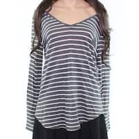 Two by Vince Camuto NEW Gray White Womens Size Medium M Striped Blouse