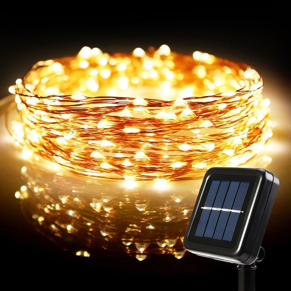 72ft led starry string lights 200 warm white leds solar powered flexible copper wire
