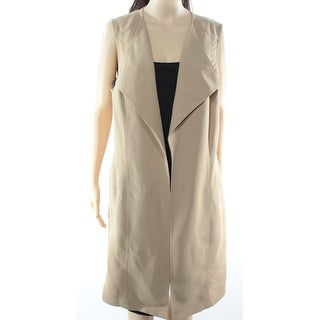 INC NEW Beige Open-Front Women's Size Small S Belted Long Vest Jacket