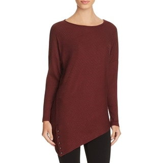 Red Haute Womens Casual Top Ribbed Asymmetric