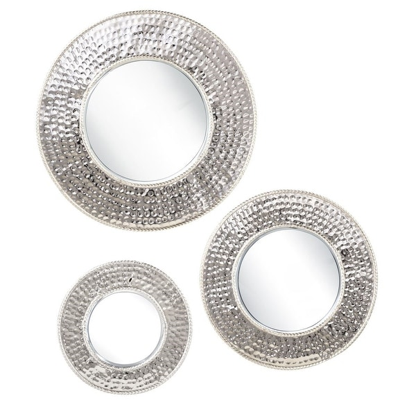 """Set of 3 Beveled Glass Wall Mounted Round Mirrors with Silver Finish 15"""" - N/A"""