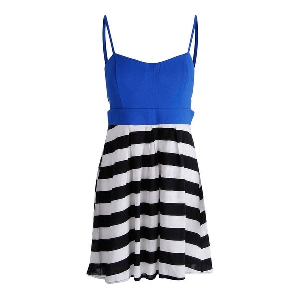 Material Girl Womens Juniors Casual Dress Striped Cut-Out