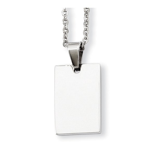 Stainless Steel Engraveable Dogtag Pendant 18in Necklace (2 mm) - 18 in