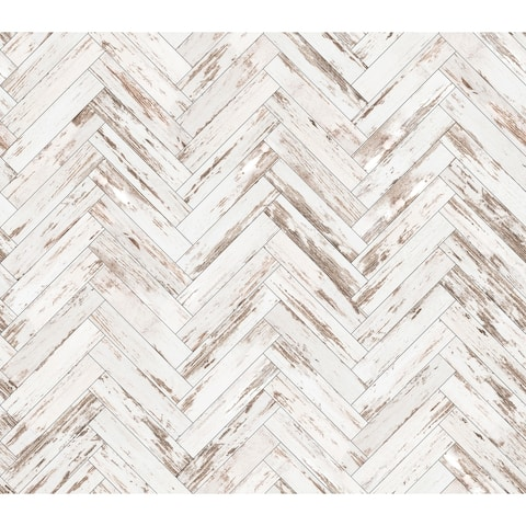 Rustic Wood Parquet Removable Wallpaper - 10'ft H x 24''inch W