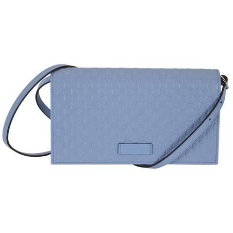 "Gucci 466507 Blue Leather Micro GG Guccissima Crossbody Wallet Bag Purse - 8"" x 4.5"" x 1.5"""