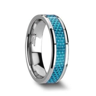 AUGUSTUS Blue Carbon Fiber Inlay Tungsten Carbide Band - 6mm