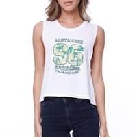 Santa Cruz California Womens White Lightweight Cotton Crop Tshirt