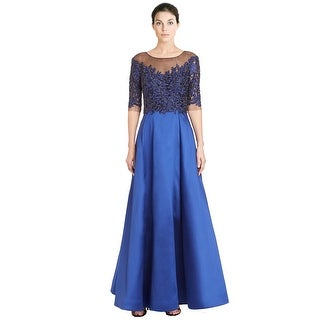 Teri Jon Embellished Beaded Lace Taffeta Evening Gown Dress