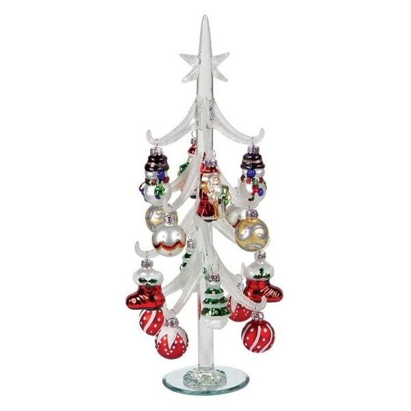 "14"" Frosted Glass Table Top Christmas Tree with Ornaments - CLEAR"