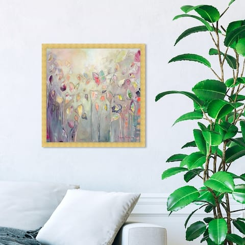 Oliver Gal 'Michaela Nessim - Butterfly' Abstract Framed Wall Art Prints Paint - Purple, Green