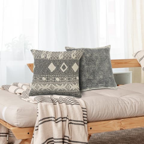 Modern Rustic Tufted Throw Pillow