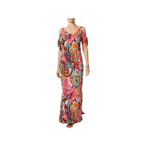 MSK Womens Maxi Dress Printed Cold Shoulder
