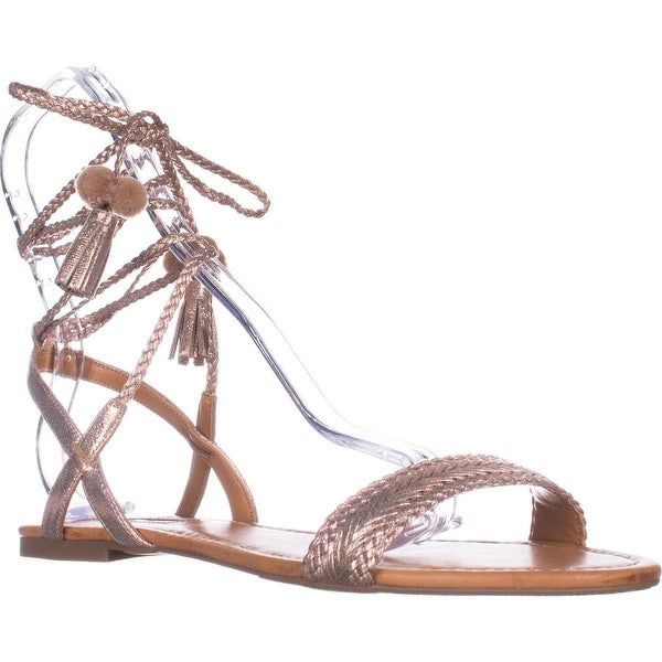 I35 Ganice Two-Piece Lace-Up Flat Sandals, Pearl Rose