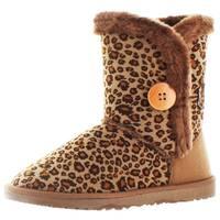 Moda Essentials Short Button Women's Faux Sheepskin Winter Boots Shearling Leopard Print