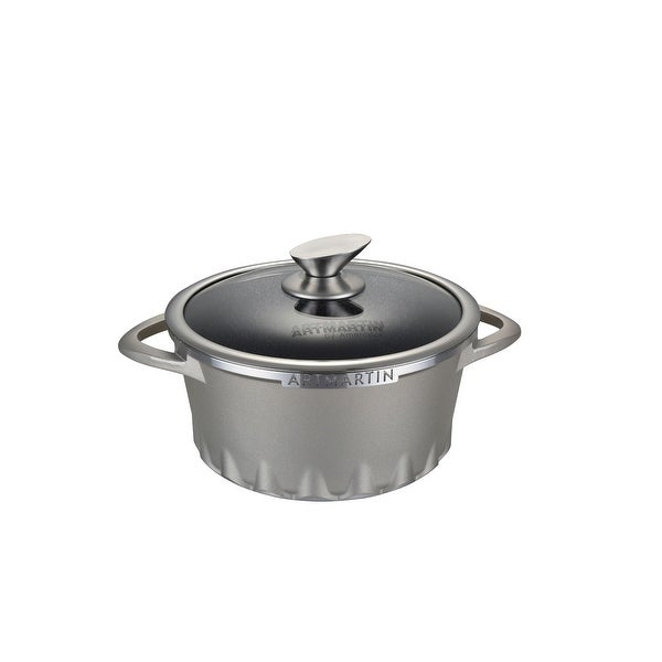 Non-Stick Ceramic Coated Die-Cast Aluminum Round Casserole & Lid with Induction Bottom – 8.7 inch. Opens flyout.