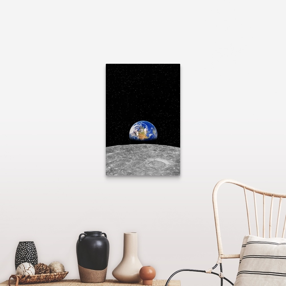 Planet Earth Rising Over Moon Canvas Wall Art Overstock 21002426