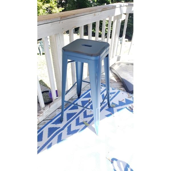30 High Backless Distressed Metal Indoor Outdoor Barstool Patio Chair Overstock 14173230