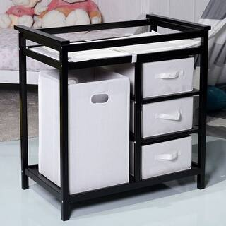 Costway Black Infant Baby Changing Table w/3 Basket Hamper Diaper Storage Nursery|https://ak1.ostkcdn.com/images/products/is/images/direct/32ced76baa7588296bc9ad2b63b0f375a7e075cb/Costway-Black-Infant-Baby-Changing-Table-w-3-Basket-Hamper-Diaper-Storage-Nursery.jpg?impolicy=medium
