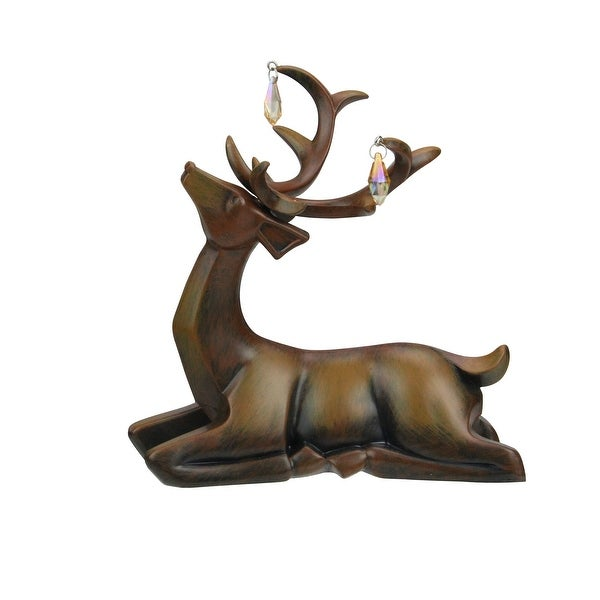"""7.5"""" Faux Wooden Finish Laying Deer Decorative Christmas Table Top Decoration - brown"""