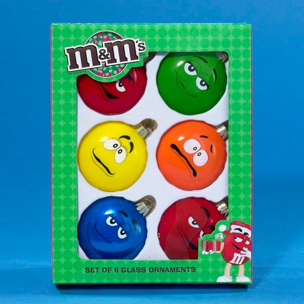 Set of 6 Glass M&M's Silly Expressions Candy Christmas Ornament 2.25""