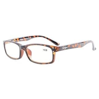 Eyekepper Spring Hinges Anti Glare and Scratch Resistant Lens Amber Tinted Lenses Reading Glasses Tortoise +2.75