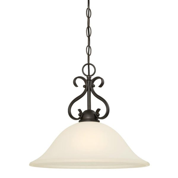 """Westinghouse 6306000 Dunmore 16"""" Wide 1-Light Single Pendant with Frosted Glass Shade - Oil Rubbed bronze - n/a"""